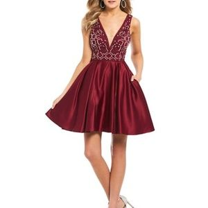 blondie nites beaded bodice satin fit and flare